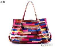 Sheepskin Patchwork Bag Casual Luxury Fashion Bag Women Famous Brand Real Leather Shoulder bags Colorful Hobos Handbag 8803