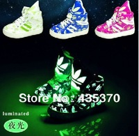 Free shipping 2013 new fashion luminous monkey three colors boy /girl leaf sneaker casual shoe inner length 13.5-22.5cm