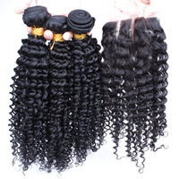 Free shipping 5A unprocessed mongolian kinky curly hair with lace closure kinky curly virgin hair 10-26inch natural black color