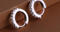 Women Luxury AAA Swiss Zircon Earrings 925 Sterling Silver Hoop Earring High Quality Korean Fashion Jewelry Wholesale