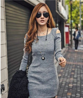 New 2013 HOT Selling Winter autumn -summer CHIC Women Casual Long Sleeve Shoulder Off Package Hip Dress XXL dg1009
