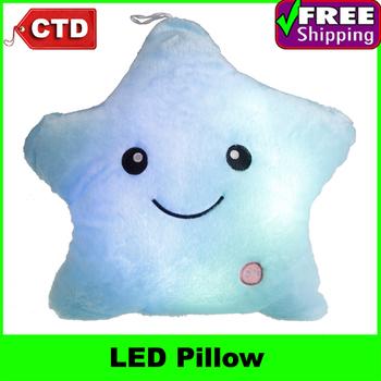 Velvet Lucky Star Pentagram LED Colorful Throw Pillow,