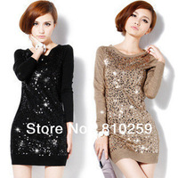 A502 free shipping 2013 women new fashion korea paillette sequin long knitted pullovers autumn winter sweater dress 3 colors