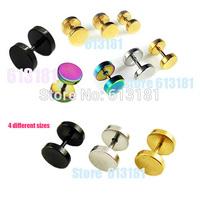 Hot Sale Top Quality Fashion Dumbbell Stud Earrings Men Titanium Earrings Jewelry Women Ear nail 4 Sizes