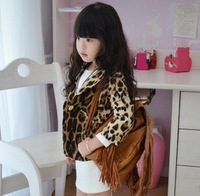 (100-140cm) 5pcs/lot spring autumn Leopard grain / girls Jackets Kids Outerwear, Children fashion suit /outweear for girls