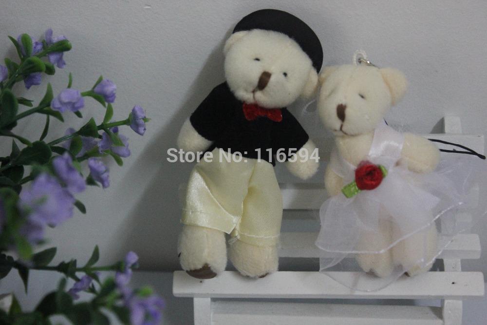 100pcs/lot free shipping 8CM wedding bear plush toy couple bears small teddy bears/wedding gifts/phone pendant(China (Mainland))