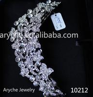 New Fashion Crystal Beaded Bridal Hair Combs Tiara Decorative Handmade Silver Jeweled Hair Combs