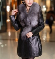 On Sale Genuine Sheepskin Leather Fox Fur  Jacket Coat Black  L-4XL Plus Sizes Wholesale Retail OEM FS99005125