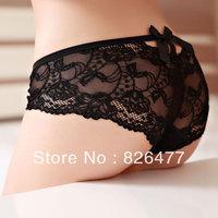 Modal sexy Lace Briefs 6 pcs/Lot Women's mid waist  temptation transparent full lace bow women's triangle Panties