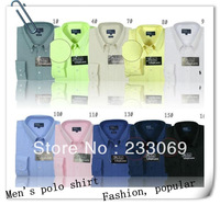 Free shipping 2013 New Mens casual Shirt Long Sleeve slim fit ,Polo shirt High grade Design cotton