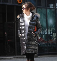 High Quality Women Brand Down Coat White Duck Down Jacket Black Long Design Patent Leather Winter Coat S-L Free Shipping
