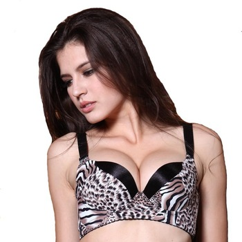 Bra underwear leopard lingerie sexy new tiger oil pearl massage health bra top gather small chest adjustment deep v bra push up