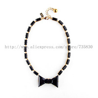 FREE SHIPPING 2013 New Hot Sale Black TIe Optional Necklace Fashion jewelry Black bow diamond  necklace