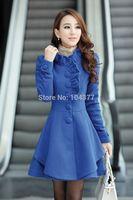 2014 Autumn and Winter Coat Wool Double-Breasted Outerwear Women Medium-Long Coat Wool Coat  Women Wool Coat free shipping