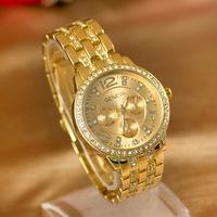 Free Shipping 2014 New Luxury Geneva Brand Crystal Stainless Steel Watch Women Ladies Men Fashion Gold Dress Quartz Wrist Watch