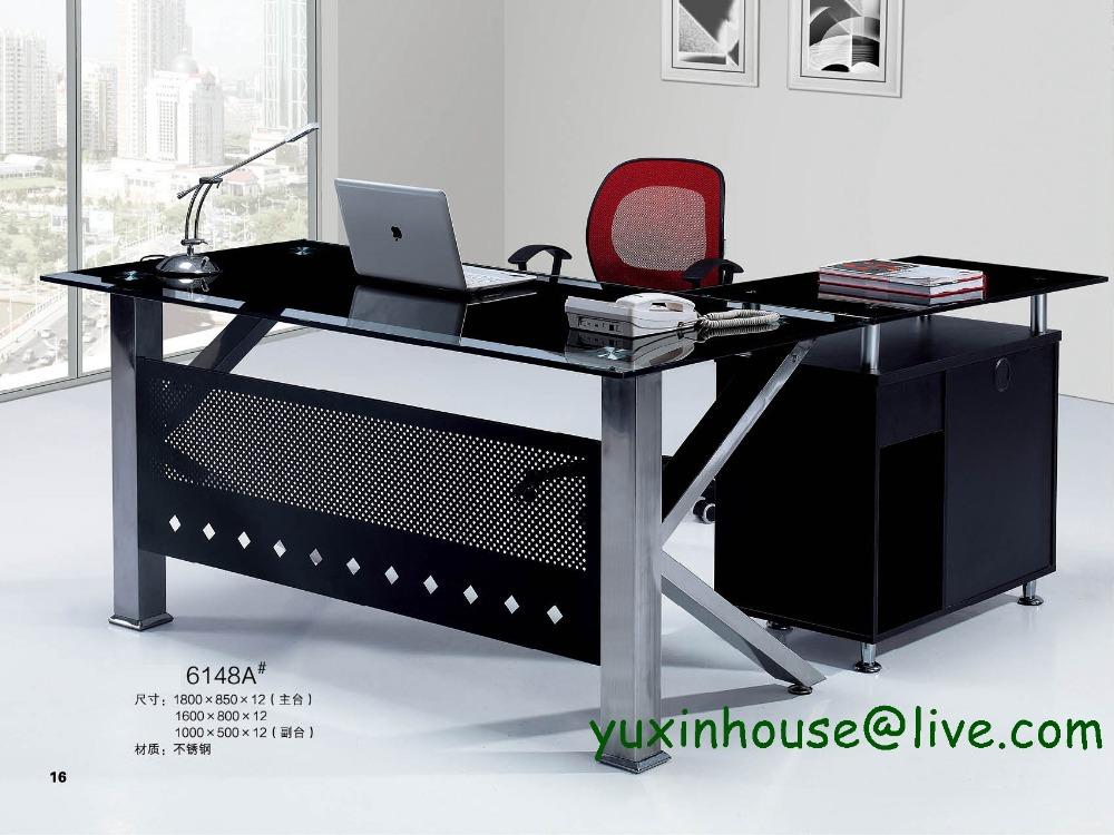 office new feeling tempered glass office boss desk