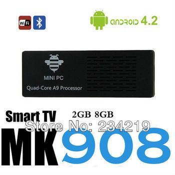 wholesale 10pcs=a lot MK908 RK3188 Quad Core Android 4.2.2 TV Box Sticker Dongle Mini PC 2G RAM 8G rom Bluetooth 4.0 tv dongle