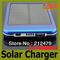 free shipping high quality full power 5000mah solar panel charger External Battery for all phone ipod mp3 Portable Power Bank