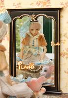 iland 1/6 Scale Fashion Dolls Furniture Black Square full-length Mirror Wood W/Gold Printed Figure