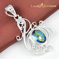Luckyshine Newest Saint Valentine's Day Gift SilverJewelry For Lady Charm Mystic Firebird Topaz Dangle Pendant