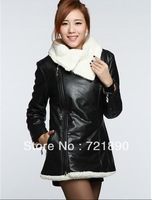 women Winter medium-long berber fleececoat,women thermal plush cotton-padded jacket , free shipping