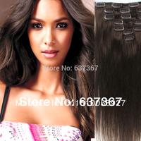 "15""18"" 20"" 22"" #4 Medium Brown Peruvian Straight Virgin Hair Full Head Remy Clip in Human Hair Extensions 7/8pcs Free Shipping"