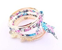 Korean style Handmade Multilayer Golden Cuff Bangle Pearl Bracelets With Charms Drop