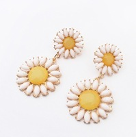 ZH0710 wholesale price Sunflower earrings exaggerated long fashion Drop earrings 2 Colours