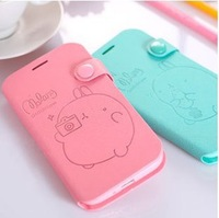 Molang Lovely Cute Cartoon Rabbit PU leather Case Potato Rabbit Cover For Galaxy S4 i9500 Note 2 N7100 Note 3 III N9000 S3 i9300