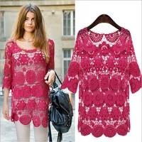 Free shipping! 2013  fashion lace crochet women shirt o-neck personalized blouse witha  small vest  89
