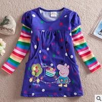 One Pcs!Pepe pig peppa pig Baby girls tshirts cotton long-sleeved T-shirt casual girl's fashion clothing Kids