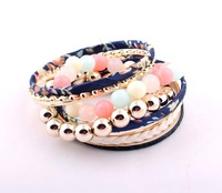 Europe exaggerated multilayer Blue bracelets And  Bangles fashion candy color Beaded  bracelet For Laides