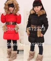 2015 new thickest children girls long down jackets outwear for russian winter kids warm outwear with Leopard belt jackets coats