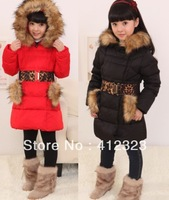 Very thick children girls long duck down jackets outwear for russian winter kids warm outwear with Leopard belt jackets coats