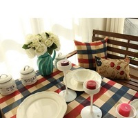 Cotton canvas cloth Mediterranean lattice linen cloth curtain fabric sofa cloth tablecloth