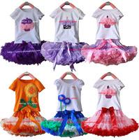 Retail Girls TUTU Skirt Set Child Lavender Pink Ruffle Soft Chiffon Pettiskirt And Cake Short Sleeve T-shirt Set Free Shipping