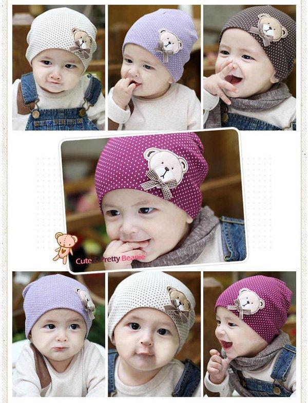 Wholesale -20 pcs/lot Cartoon cute bear Baby Cap Pattern Dot Toddler Kids Hats Cotton Beanie Infant Hat children Baby Hat(China (Mainland))