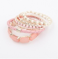 Korea Style Candy Colors Charming multilayer Stretch Bracelet  Bangle For Women Party Jewelry Gift