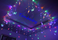 free shipping 8M width 220VAC  LED curtain light for wedding/party /hotel 196leds  Batterfly christmas decoration light