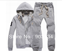 Free shipping new men's  men's sweater suit coat hooded cardigan casual fall and winter clothes thick fleece sports