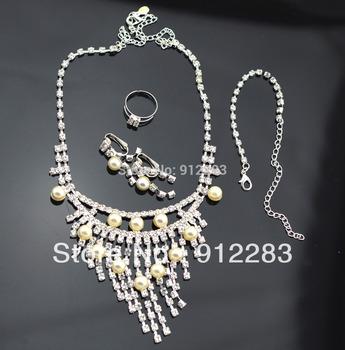 Tassel Rhinestone Faux Peral Ring Bracelet Necklace Earring Bridal Jewelry Set,Wedding Jewelry#60219