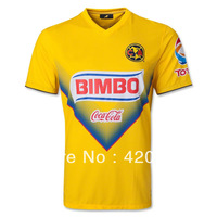 13/14 America home yellow soccer jersey Thailand quality Players version football uniforms Free shipping