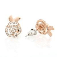 A Pair of Lovely Crystal Rhinestone Flower Golden Ear Stud Earrings Jewelery 62322
