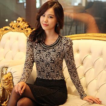 2014 New women long sleeve blouses shirts elegant ladies lace blouse Women blusas femininas tops dudalina female casual shirts