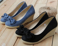 Free Shipping 2013 Brand Women Dresses New Fashion Bowtie Round Toe Ladies Wedge Platform Sandal Plus Size Blue & Black GG1005