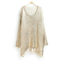women loose bat metal pullover plus size bronzier low-high thick thread sweater  PH0232