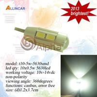 Free Shipping 2pcs/lot 2013 New Arrival 5w 5630 Canbus Led Auto Light w5w 194 T10 wedge Led Bulb Super Bright LED Car Light lamp
