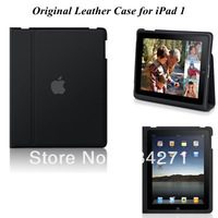Hot Sale Smart Business PU Stand Cover with Magnetic + Black Color for iPad1 Free Shipping