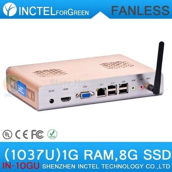 Fanless Mini PC 1G RAM 8G SSD with Intel Celeron dual-core C1037U 1.8GHz HD Graphics L3 2MB NM70 Chipset