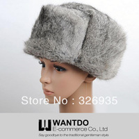 Genuine Rabbit Fur Bomber Hat Wind&Water Proof Christmas Sale Best Selling  Trapper Hat Rabbit Fur Cap Trapper Cap Style Black